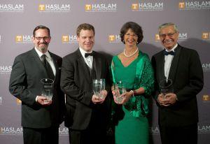 John Arnold, chairman of SouthEast Bank, Marshall Taylor, Sharon Miller Pryse and John Hajjar